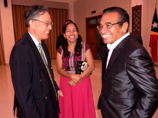 Fretilin Chairman Francisco 'Lu'Olo' Guterres, the President of the Democratic Republic of Timor-Leste, meets Professor Sukehiro Hasegawa in Dili, Timor-Leste (29/07/2017)