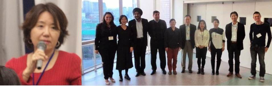 In left photo, Keiko Izushi, of WFP Kabul Donor Relations Head, and in group photo from left to right: Roberta Tomaz Bonfim, ICRC Protection Officer, Megumi Yoshii, Special Assistant to DSRSG UNOCI, Hisham Nassar Palestine Representative, Yoko Fujimura, IOM Head of Programmes, Former SRSG Hasegawa, Ikumi Ogiwari, ICRC Protection Delegate, Shukuko Koyama, ILO Disaster and Employment Specialist, Kenya Konno, FAO Programme Officer and Atsushi Nashimoto, UNSMIL Programme Officer
