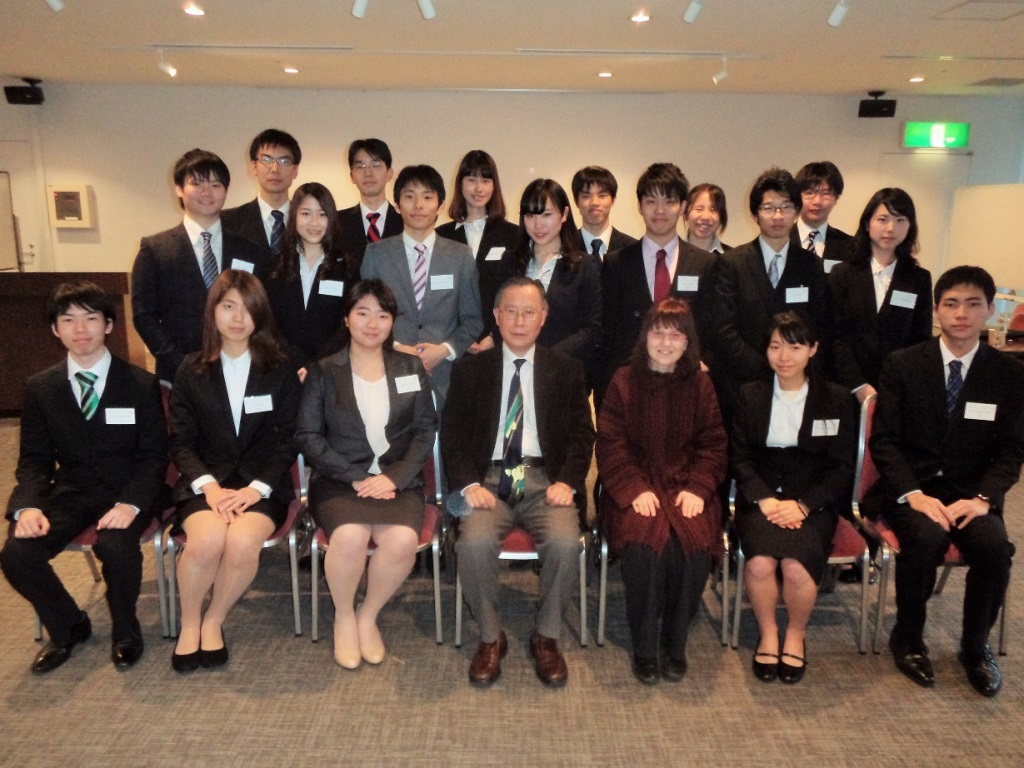 From left to right: Hiroki Funakubo, Rie Kurita, Haruka Oyama, Professor Sukehiro Hasegawa, Professor Lori Zenuk-Nishide Ayaka Minami, Tokio Uenoyama, Kohei Mimura, and Nanako Uenoyama From right to left on the second row: Ayano Hironaka, Yuta Sasaki, Ryota Ueoka, Miyabi Murata, Wataru Kinoshita, Nanako Ueda, and Kohei MimuraFrom left to right on the third row:  Yuhong Chen, Masaki Nakanishi, Misa Norigami, Daiki Matsuda, Shiori Ikuta, and Takumi Soga