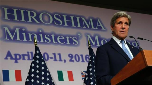 US Secretary of State John Kerry speaks during a press conference at the conclusion of the G7 Foreign Ministers' Meetings in Hiroshima on April 11, 2016. (Source: pressty.ir)