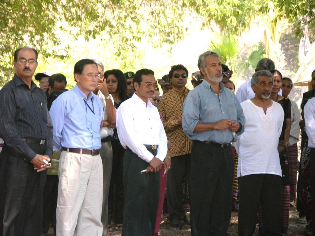 "From right to left: Prime Minister Alkatiri, President Gusmão, National Parliament President Lú-Olo Guterres, SRSG Hasegawa, and Deputy SRSG General (ret) Bajwa visiting Oecussi to commemorate the 30th anniversary of FALINTIL in 2005. (UNMISET Photo Data) In 2002, the Timorese government and other state institutions assumed sovereignty and started to function in an atmosphere of jubilation, with smiling faces seen everywhere. In the early days, the leaders showed a spirit of confidence and tolerance towards one another. Yet, as in many other post-conflict countries, disharmony soon began to appear, and this developed into a schism between the two organs of governance......the executive government and the National Parliament, dominated by FRETILIN, and the Office of the President, respectively."" (Primordial Leadership, 2013, p.74)"