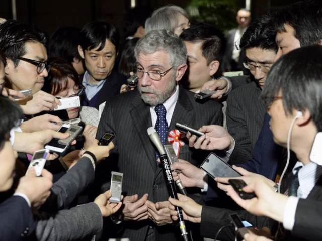 Professor Paul Krugman after his meeting with PM Shinzo Abe and other senior Japanese government officials. (www.japantimes.co.jp)